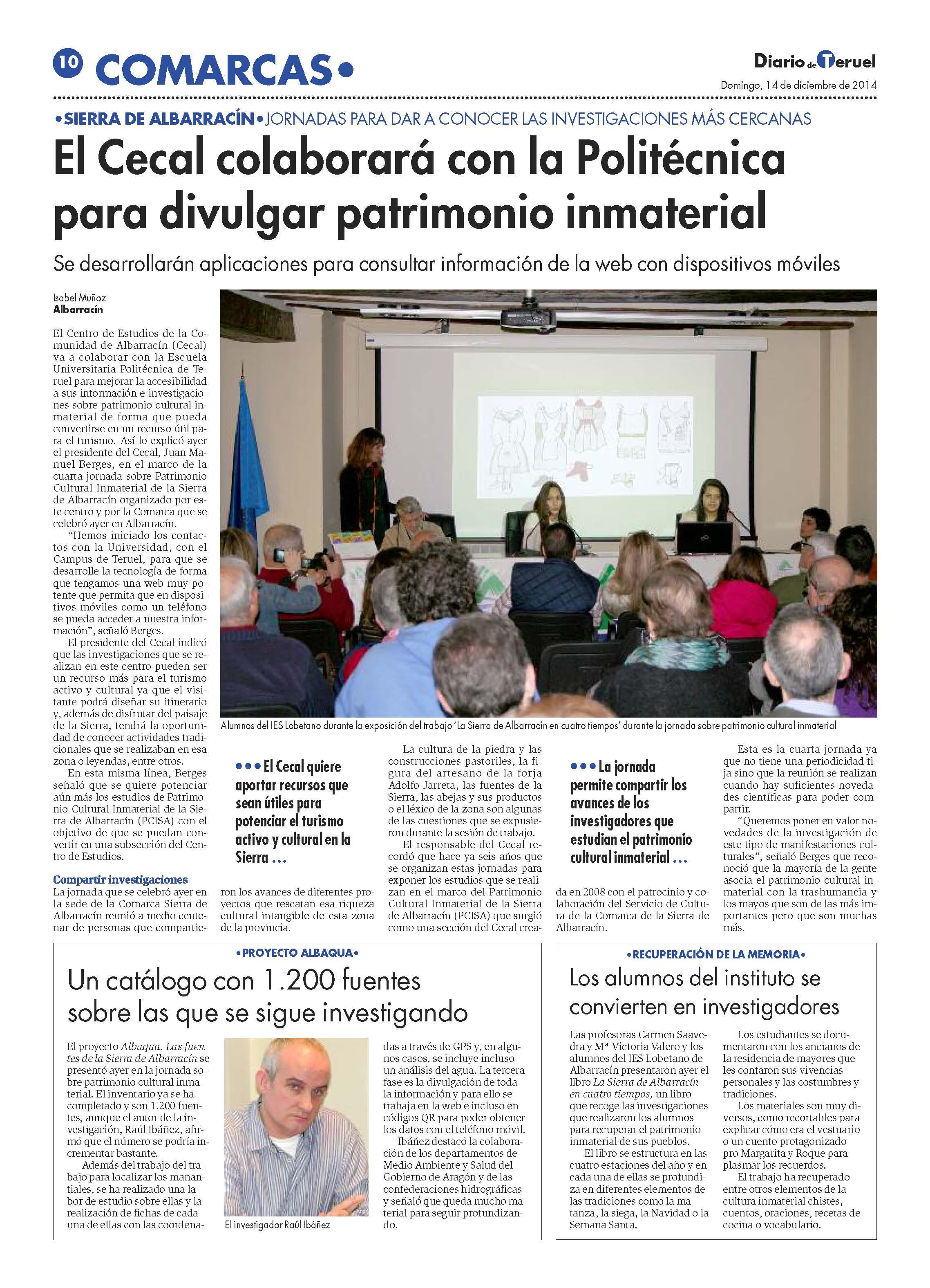Imagen de EL CECAL COLABORARÁ CON LA POLITÉCNICA PARA DIVULGAR PATRIMONIO INMATERIAL